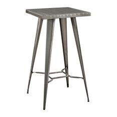 Modern Contemporary Urban Design Kitchen Room Bar Table, Silver, Metal Steel