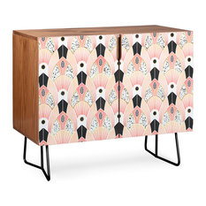Deny Designs Blush Deco Credenza Walnut Black Steel Legs