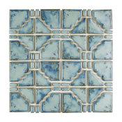 "Luna Porcelain Mosaic Floor and Wall Tile, Diva Blue, Sample Card, 3""X4"""