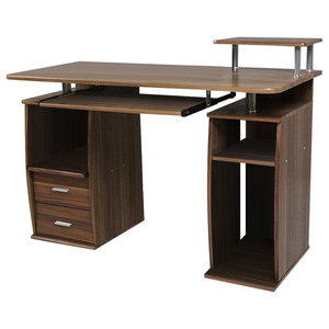 Large Desk Table, MDF With Sliding Keyboard Tray and Drawers, Walnut