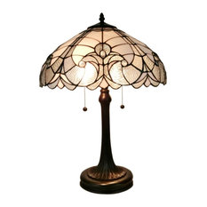 Amora Lighting Tiffany Style White Table Lamp 23 In High