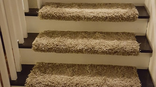 We Are Removing The Ugly Carpeting That Completely Covers Our Stair Treads,  Taking Up The Treads And Sanding/staining Them Before Replacing Them.