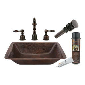 Rectangle Under Counter Hammered Copper Sink