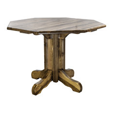 Homestead Collection Center Pedestal Table, Stain and Clear Lacquer Finish