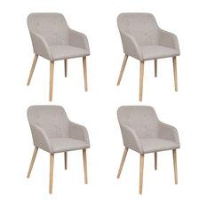 vidaXL Set of 4 Fabric Dining Chair Set With Oak Legs, Beige