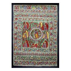 Krishna With Women of The Village Madhubani Painting