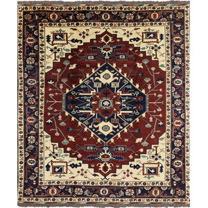 Free Pad 9'x10' Red-Navy Blue Fine Heriz Serapi Hand Knotted Wool Area Rug