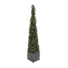 PVC Plastic Boxwood and Metal Planter, Ivy Topiary