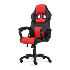 Belleze   Racing Style High Back Office Chair, Bucket Style Seat, Red