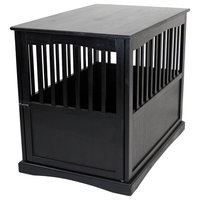 Pet Crate End Table in Black Finish