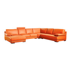 2227 Orange Top Grain Leather Sectional Sofa