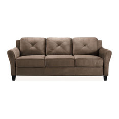 Bowery Hill Microfiber Sofa Couch In Brown