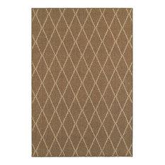 "Santa Rosa Brown Sand Geometric Lattice Transitional Rug, 9'10""x12'10"""