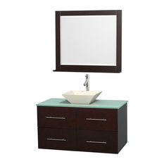 "Centra 42"" Espresso Bathroom Vanity Green Glass Top, Bone Porcelain Sink"