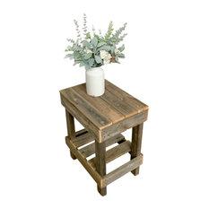 Rustic Reclaimed Barnwood Coffee Table, Natural, Slim End Table