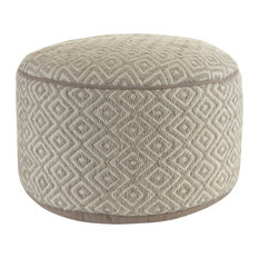 "Diamond Gray Wool 20"" Round Ottoman Pouf"