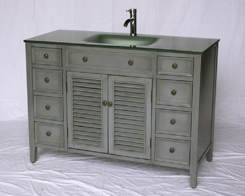 48 quot  inch Glass Top Single Sink Cottage Bathroom Vanity Gray Color FREE SHIPPING   Bathroom. Glass Top Single Sink Bathroom Vanities FREE SHIPPING