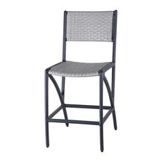 Amari Woven Stationary Balcony Stools Set Of 2 Carbon Mist Woven
