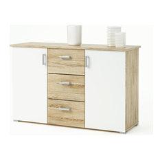 Swift Storage Unit, Brushed Oak and White Pearl