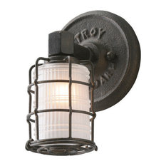 Mercantile, Vanity, 1 Light, Vintage Bronze Finish, Frosted Pressed Glass