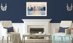Traditional New York Living Room with Framed NYC Skyline Art