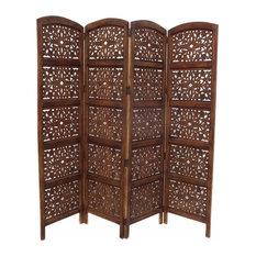 Antique Brown 4 Panel Handcrafted Wood Room Divider