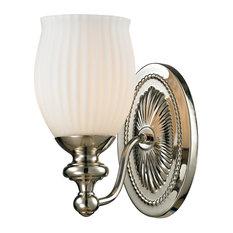 Victorian 1 Light Vanity Light in Polished Nickel Finish