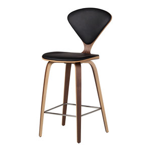 Satine Inspired Stool, Black Leather, Counter Stool