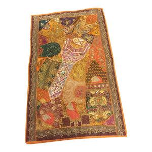 Mogulinterior - Consigned, Decorative Indian Sari Tapestry Orange Patchwork Banjara Wall Throw - Tapestries