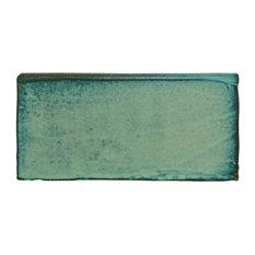 "2.88""x5.88"" Antiguo Special Bullnose Wall Trim Tiles, Set of 6, Lava Verde"