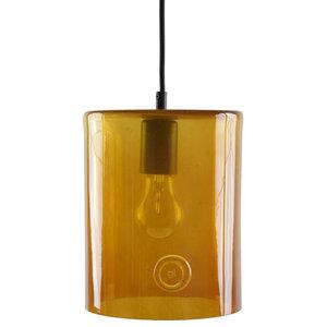Wide Glass Cylinder Pendant Light, Honey