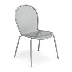 Emu Ronda Steel Outdoor Side Chair, Set of 4, Glossy Aluminum