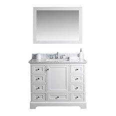 Jocelyn Bathroom Sink Vanity Set, White Marble Top, Base: White, 42