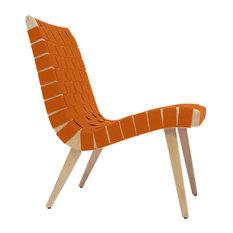 Risom Lounge Chair by Knoll, Nutmeg Cotton-Nylon Webbing, Clear Maple