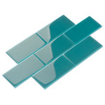 Giorbello - Glass Subway Tile, Dark Teal, Case of 44 - Giving contemporary style a sleek and functional design, this set of 44 x6 Subway Glass Tiles brings a modern twist to any space. Their dark teal shade blends a light-reflective glass material with a water-resistant quality. This makes the high-gloss surface and block color particularly suited to providing kitchen and bathroom settings with fresh vitality.