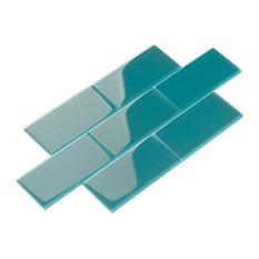 Glass Subway Tile, Dark Teal, Case of 44