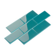 """3""""x6"""" Glass Subway Collection, Dark Teal"""