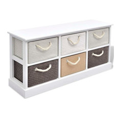 vidaXL Storage Bench Cabinet Dresser Shelves 6 Drawers Hallway Entryway Chest