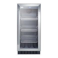 """15""""W Glass Door, Built-In Beverage Cooler SCR1536BGCSS"""