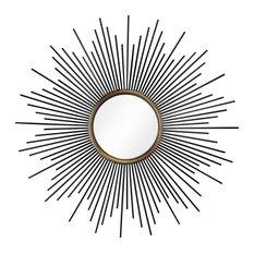 Convex Black and Gold Sun Mirror, 95 cm