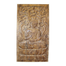 Consigned Vintage Sitting Buddha Door Panel Hand Carved Wooden Wall Decor