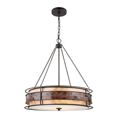 Mission 3 Light Chandelier in Tiffany Bronze Finish