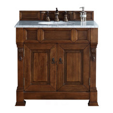 "Brookfield 36"" Country Oak Single Vanity 2CM Carrara White Marble Top"