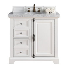 "Providence 36"" Cottage White Single Vanity w/ 4cm Carrara White Marble Top"