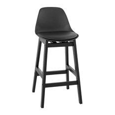 Turel Black Upholstered Bar Stool, Small