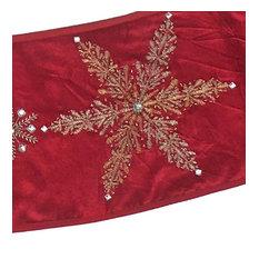 Handmade Adjustable Christmas Tree Collar - Silver Snowflakes on Red Velvet
