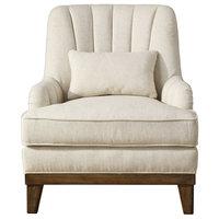 Denney Light Oatmeal Linen Accent Chair
