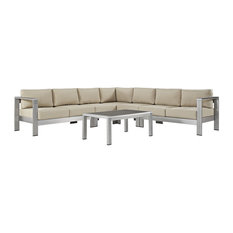 Modway Shore 6-Piece Outdoor Patio Aluminum Sectional Sofa Set