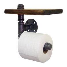 Industrial Home Bazaar   Industrial Pipe Toilet Paper Holder With Shelf   Toilet  Paper Holders