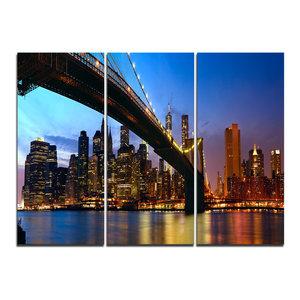 """Manhattan City With Bridge Under Blue Sky"" Wall Art, 3 Panels, 36""x28"""